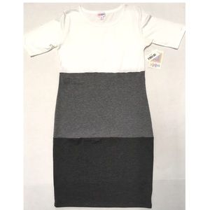 🖤 LuLaRoe Julia color block grayscale dress M